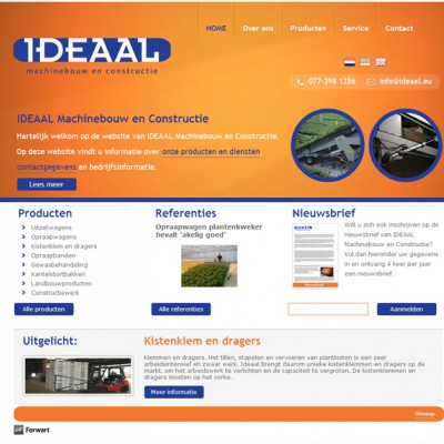 Homepage website Ideaal Machinebouw & Constru