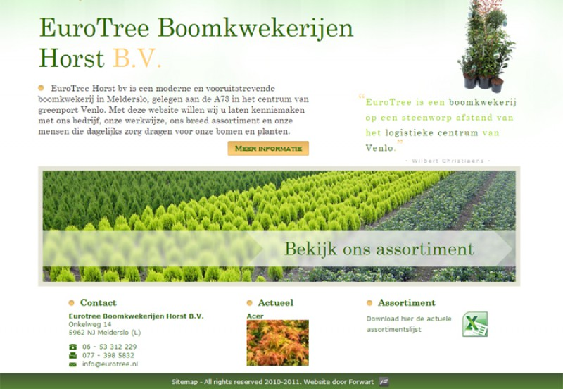 Homepage website Eurotree
