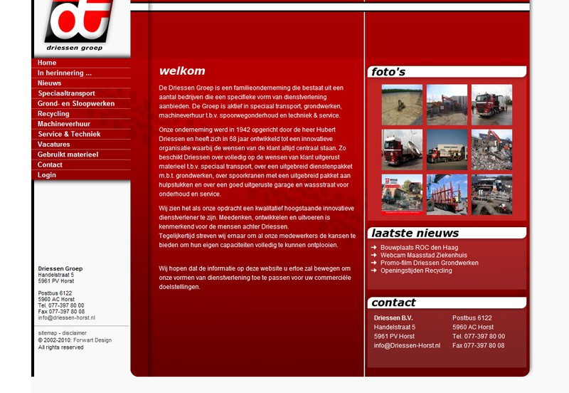 Website Driessen Transport