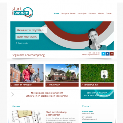 De homepage van de website.